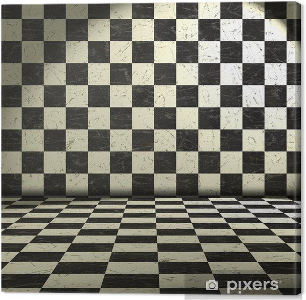 Tableau sur toile Chambre en noir et blanc