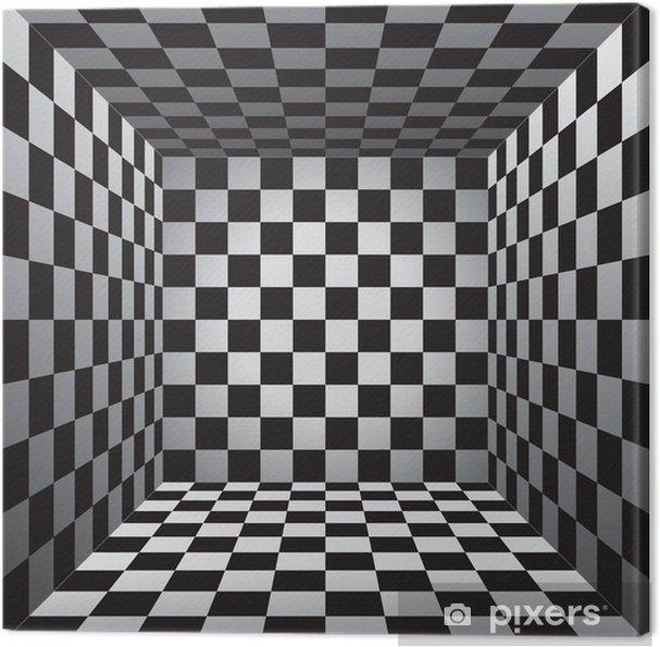 Tableau sur toile Chambre Plaid, cellule en noir et blanc, échiquier 3D,  vecteur, conception, fond