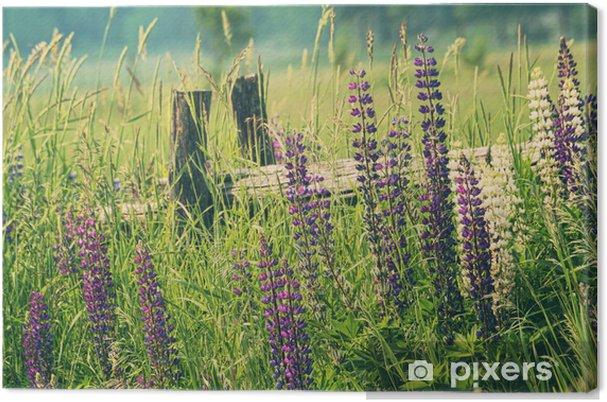 Tableau champ lupin et montagne 3 tableaux sur toile champ de fleurs de lupin
