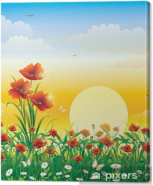 Tableau sur toile Champ de fleurs sur un fond de l'aube solaire - Thèmes