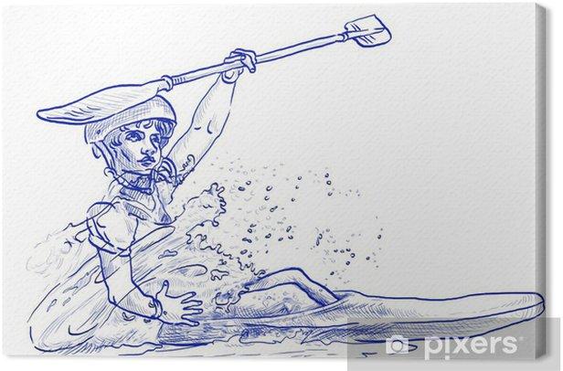 Tableau sur toile Champion en canoë - dessin à la main - Sports individuels