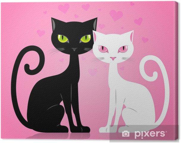 Tableau sur toile Chat noir et blanc - Styles