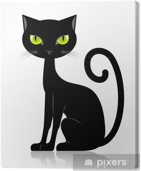 Tableau chat noir 2 tableaux sur toile chat noir