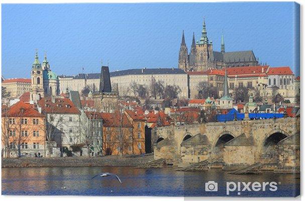 Tableau sur toile Château de Prague gothique avec pont Charles, République tchèque - Europe