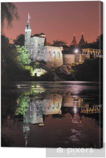 Tableau sur toile Château du Belvédère à nuit à Central Park à New York - Châteaux et palais
