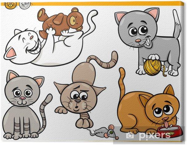 Tableau sur toile Chats heureux illustration de bande dessinée jeu - Mammifères