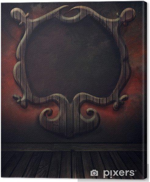 Tableau sur toile Chaussée de cru avec mur et cadre en bois antique. Art abstrait de b - Bâtiments publics
