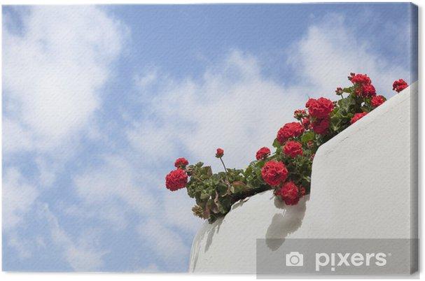 Tableau sur toile Chaux blanche balcon avec des géraniums rouges. - Maisons et jardins