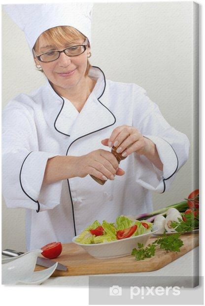 Tableau sur toile Chef préparant la salade - Métiers