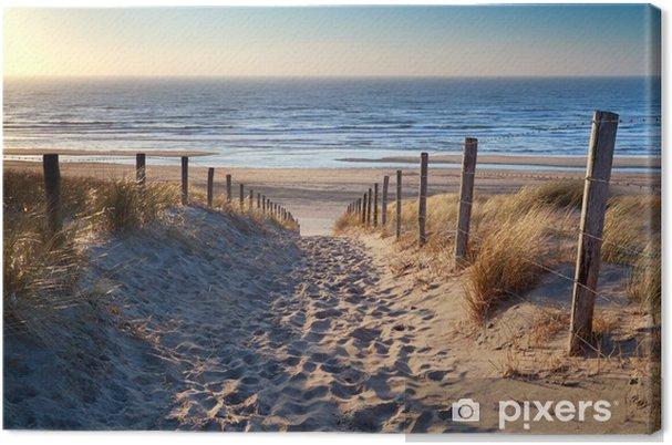 tableau sur toile chemin de plage de la mer du nord dans le soleil d 39 or pixers nous vivons. Black Bedroom Furniture Sets. Home Design Ideas