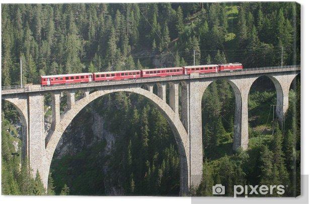 Tableau sur toile Chemins de fer rhétiques - Wiesen viaduc - Europe