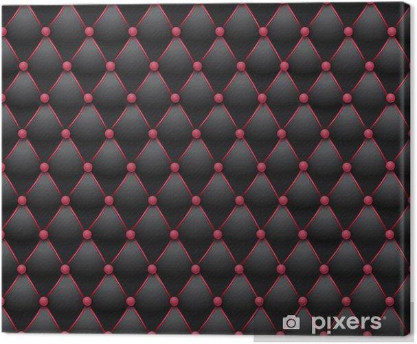 Tableau sur toile Chesterfield - tissu capitonné noir et rose - Styles