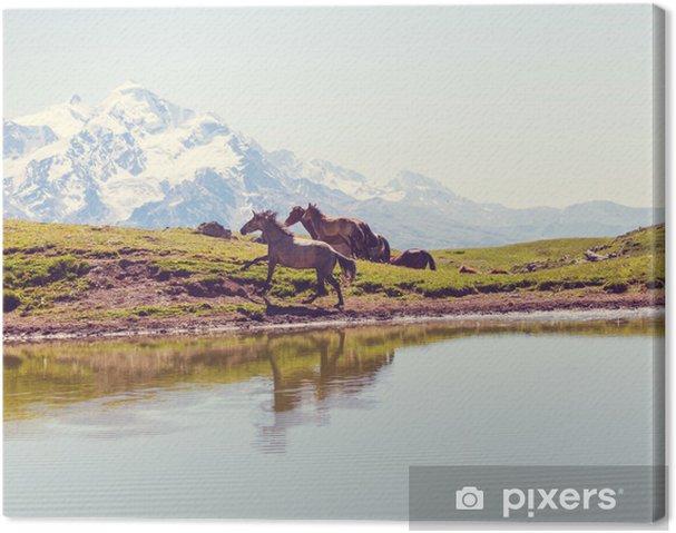 Tableau cheval et montagne 3 tableaux sur toile cheval dans les montagnes
