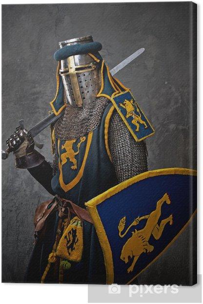 Tableau sur toile Chevalier médiéval sur fond gris - Hommes
