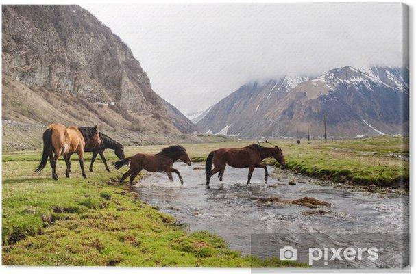 Tableau cheval et montagne 2 tableaux sur toile chevaux en montagne