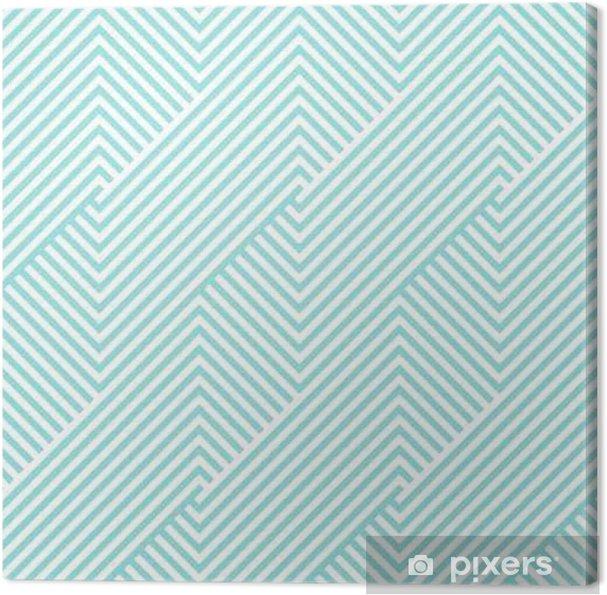 Tableau sur toile Chevron pattern seamless green aqua et des couleurs blanches. Modèle de conception de mode sans couture. Vector de fond abstrait de la bande géométrique. - Ressources graphiques