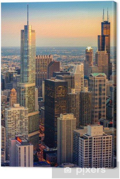 Tableau sur toile Chicago Crépuscule - Thèmes