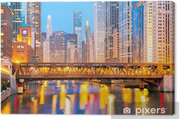 Tableau sur toile Chicago du centre-ville et de la rivière - Thèmes