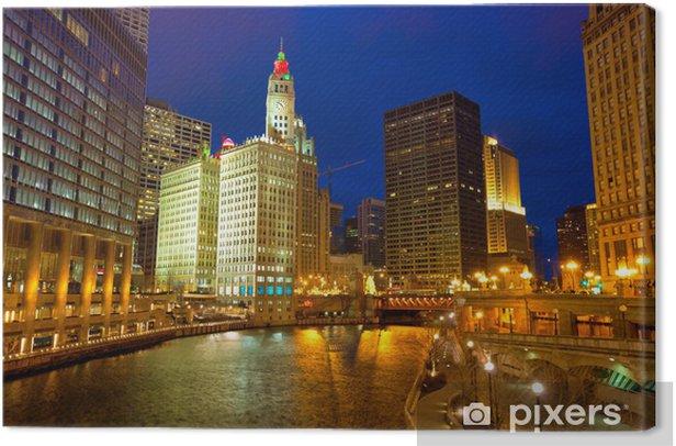 Tableau sur toile Chicago River Walk avec des lumières au crépuscule, IL, USA - Thèmes