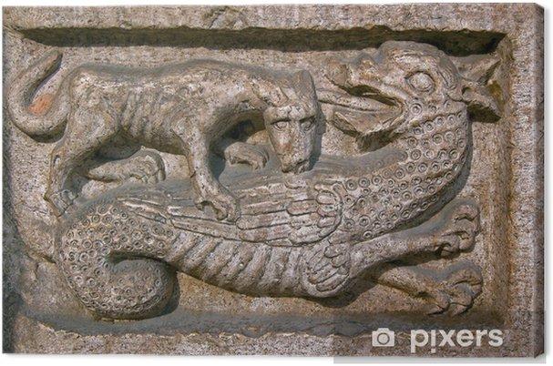 Tableau sur toile Chien mord un Dragon - Cathédrale de Trente en Italie - Europe