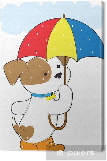 Tableau sur toile Chiot mignon sous la pluie - Mammifères