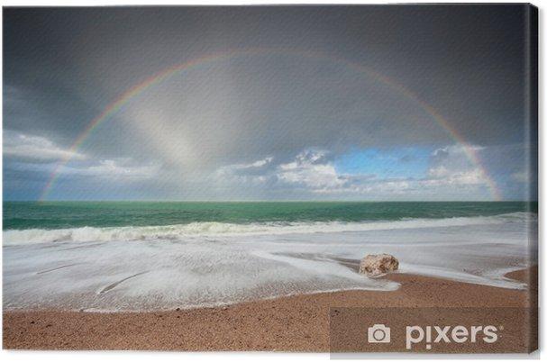 Tableau sur toile Ciel au-dessus des vagues de l'océan Atlantique sur la côte - Ciel