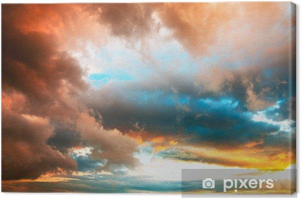 Tableau sur toile Ciel du soir dramatique avec nuages colorés vives - Ciel