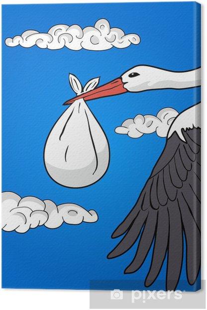 Tableau sur toile Cigogne de vol avec un paquet, illustration - Art et création