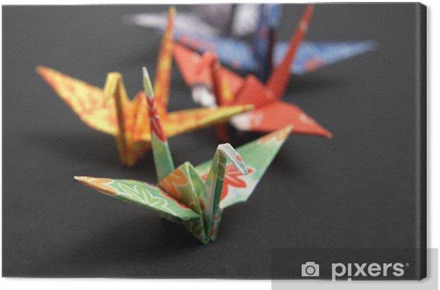 Tableau sur toile Cinq origami oiseaux sur un fond noir - Asie