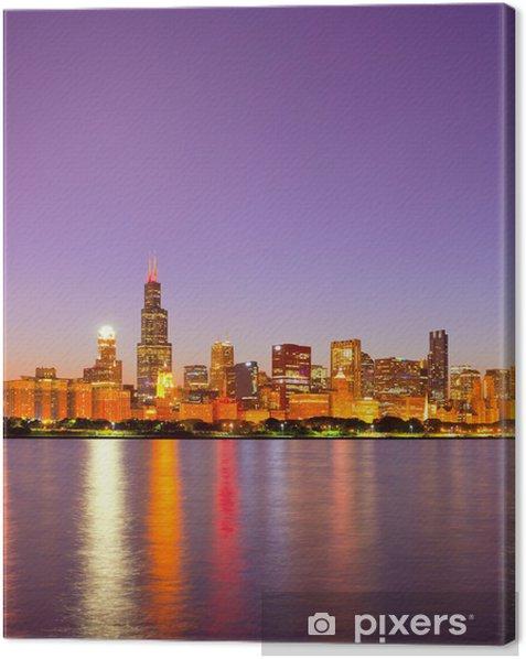 Tableau sur toile City of Chicago USA, coucher de soleil coloré panorama horizon - Thèmes