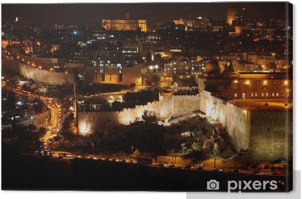 Tableau sur toile Classic Jerusalem - Nuit dans la vieille ville, le Mont du Temple à Al-Aqsa - Criteo