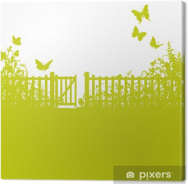 Tableau sur toile Clôture de jardin, jardin et pelouse • Pixers ...