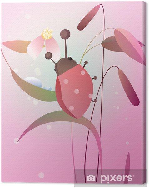 Tableau sur toile Coccinelle sur une fleur - Saisons