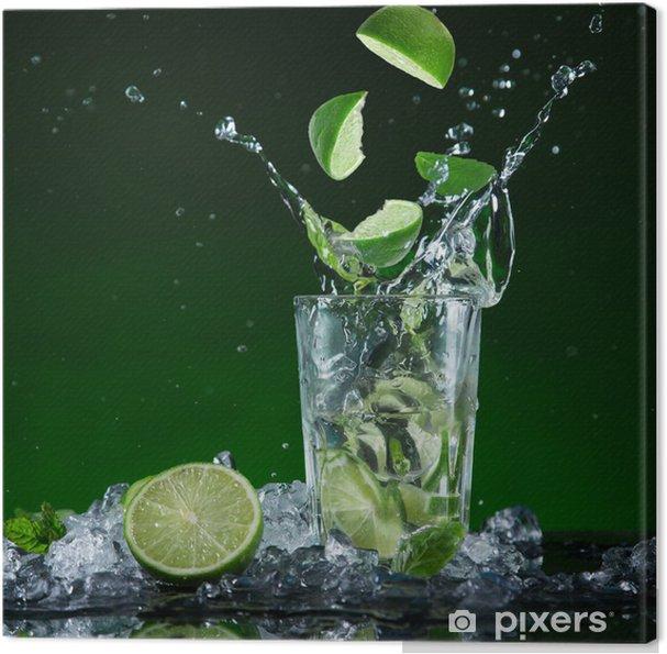 Tableau sur toile Cocktail de fruits frais dans le gel des éclaboussures de mouvement - Repas