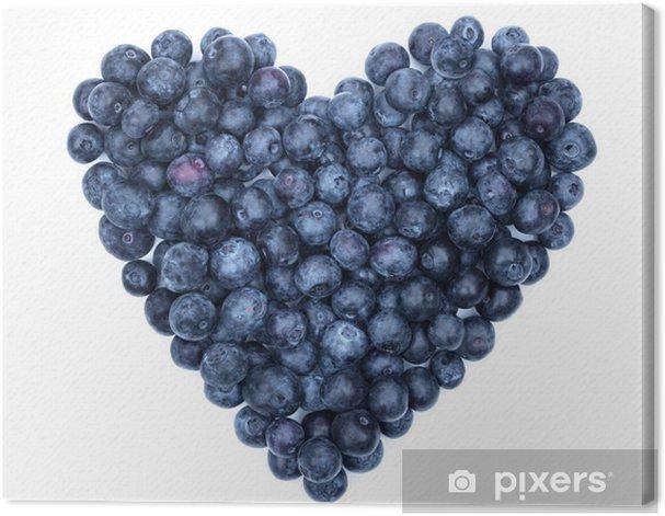 Tableau sur toile Coeur bleuets - Fruits