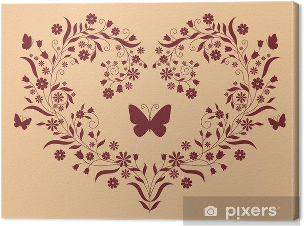 Tableau sur toile Coeur de fleurs - Plantes