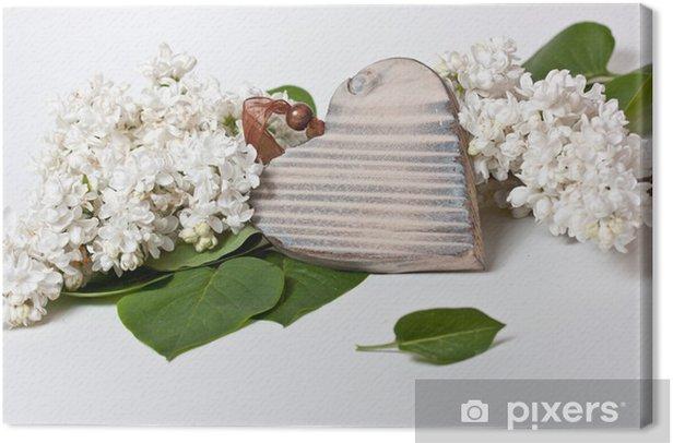 Tableau sur toile Coeur - lilas - Bonheur