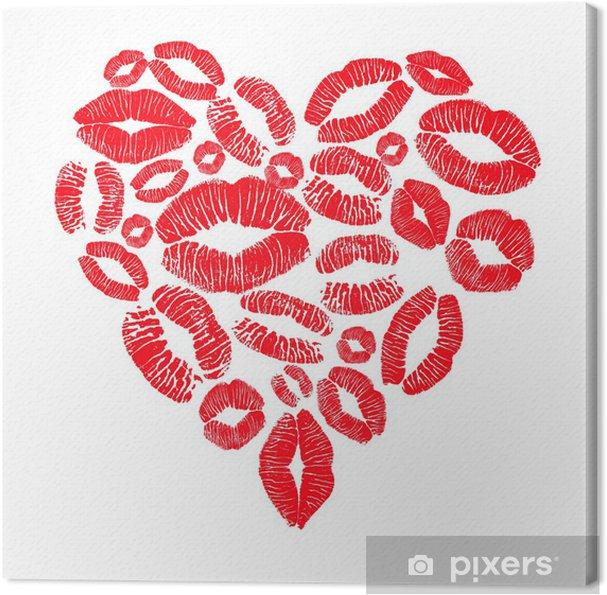 Tableau Sur Toile Coeur Rouge Plein De Bisous Pixers Nous