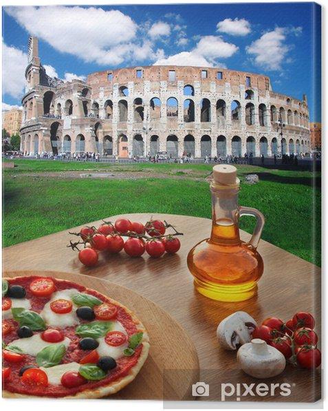 Tableau sur toile Colisée avec de la pizza italienne à Rome, Italie - Thèmes