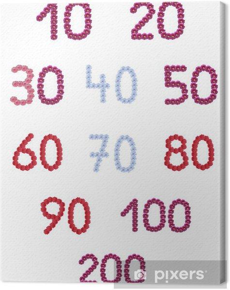 Tableau sur toile Collage chiffres de fleurs isolées - Célébrations