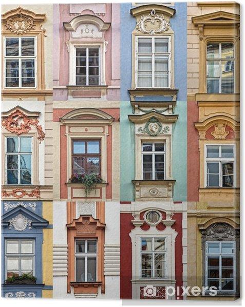 Tableau sur toile Collage de fenêtres colorées de Prague, République tchèque - Voyages