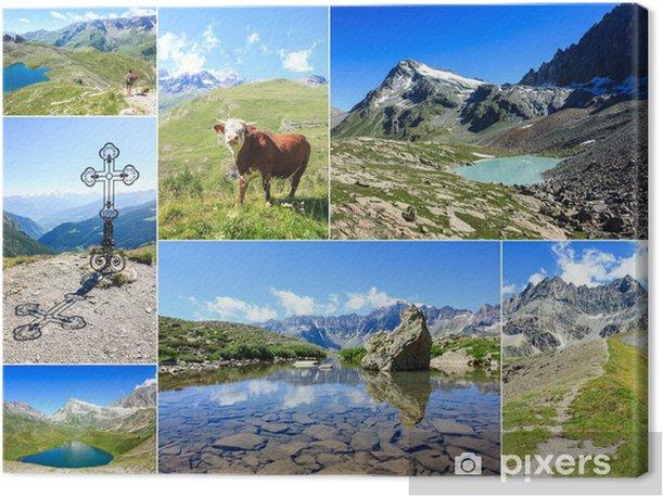 Tableau sur toile Collage de photos sur les montagnes du Val d'Aoste - Europe