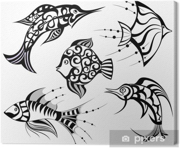 Tableau sur toile Collection de poissons. Conception de tatouage. - Animaux marins
