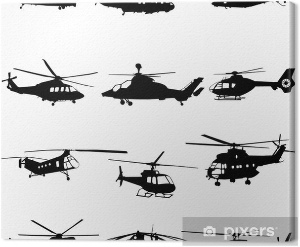 Tableau sur toile Collection de vecteur d'hélicoptère - Dans les airs