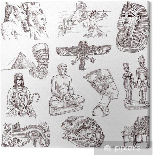 Tableau sur toile Collection égyptienne - dessins à la main pleine taille sur fond blanc - Arrière plans