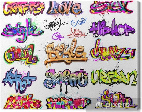 Tableau sur toile Collection Graffiti vecteur de fond. Hip-hop conception - Art et création