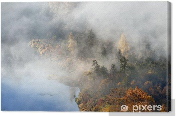 Tableau sur toile Collines couvertes de brume en automne. Sigulda, en Lettonie. - Europe
