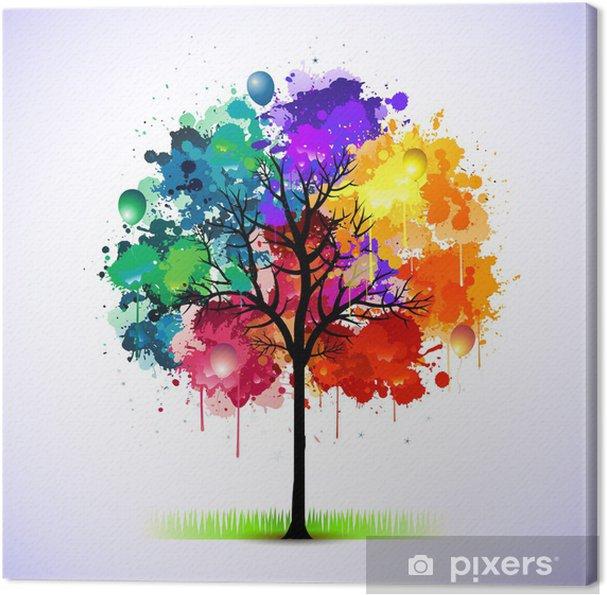 tableau sur toile colorful abstrait arbre pixers nous vivons pour changer. Black Bedroom Furniture Sets. Home Design Ideas