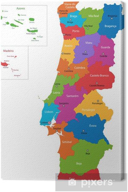 Tableau sur toile Colorful carte du Portugal avec les régions et les villes principales - Thèmes