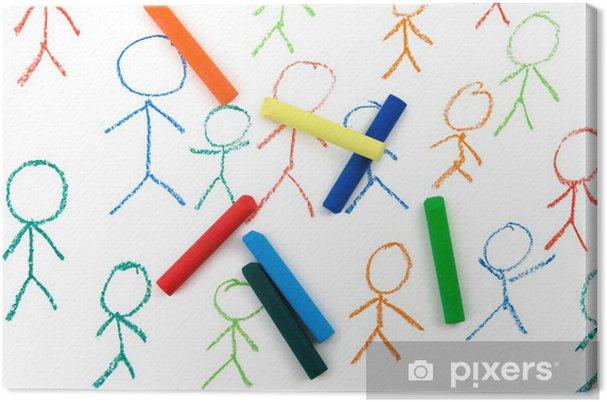 Tableau sur toile Colorful chiffre de bâton - Education